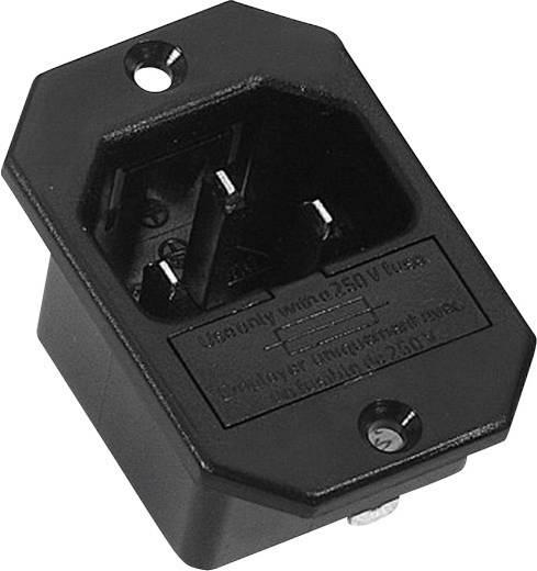 Beépíthető hálózati műszercsatlakozó dugó biztosítékkal, függőleges, 3 pól., 10 A, fekete, C14, K&B 42R322111