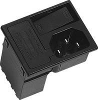 Beépíthető hálózati műszercsatlakozó dugó kapcsolóval, függőleges, 3 pól., 10 A, fekete, C14, K&B 42R3731404150 (42R3731404150) K & B