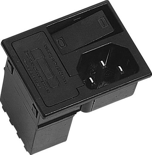Beépíthető hálózati műszercsatlakozó dugó kapcsolóval, függőleges, 3 pól., 10 A, fekete, C14, K&B 42R3731404150