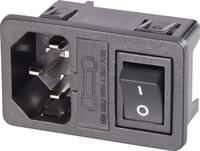 Beépíthető hálózati műszercsatlakozó dugó kapcsolóval, függőleges, 3 pól., 10 A, fekete, C14, K&B 59JR101-1FRS150 (59JR101-1FRS150) K & B