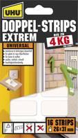 Kétoldalas ragasztócsíkok, Uhu Extrem (H x Sz) 31 mm x 26 mm, fehér 45450 UHU, tartalom: 16 db (45450) UHU