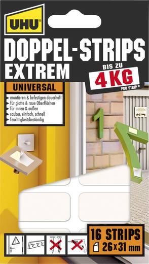 Kétoldalas ragasztócsíkok, Uhu Extrem (H x Sz) 31 mm x 26 mm, fehér 45450 UHU, tartalom: 16 db
