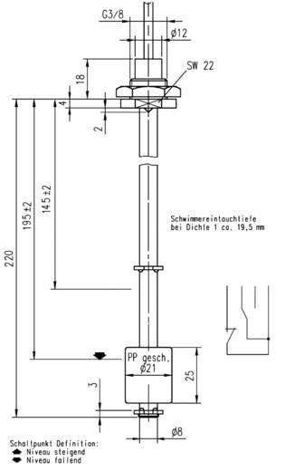 Elobau úszókapcsoló/töltésszint-mérő 2 kapcsolási ponttal, 20W, 221B1710