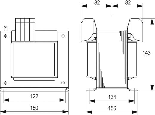 Szabályozó, biztonsági, elválasztó transzformátor sorozat, STEU 230 V és 400 V 2 x 115 V 2 x 4,35 A Block