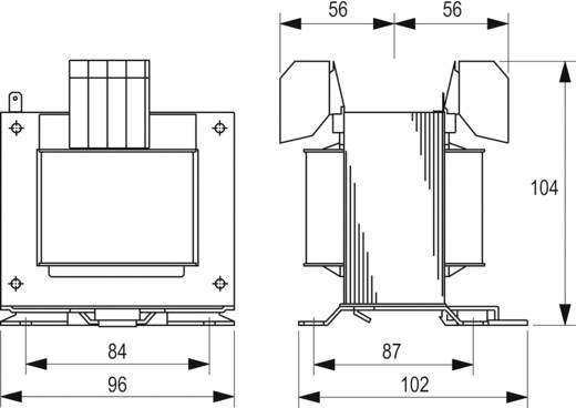 Szabályozó, biztonsági, elválasztó transzformátor sorozat, STEU 230 V és 400 V 2 x 115 V 2 x 690 mA Block