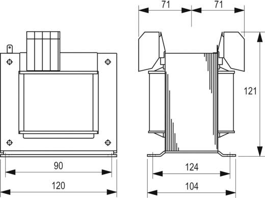 Szabályozó, biztonsági, elválasztó transzformátor sorozat, STEU 230 V és 400 V 2 x 115 V 2 x 2,17 A Block