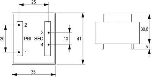 BLOCK EI 38/13,6 nyáktrafó 230V, 9V/355mA/3,2W, VB 3,2/1/9