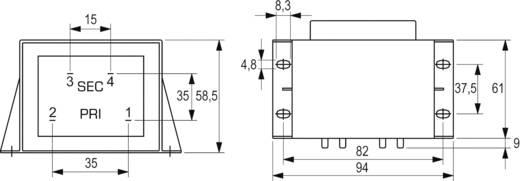 BLOCK EI 66/34,7 nyáktrafó 230V, 18V/2,77A/50W, VCM 50/1/18