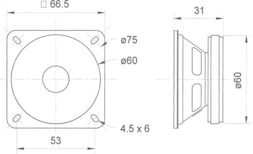 Szélessávú hangszóró 6,5 cm Visaton 2012 88 dB, 88 dB, 8 Ω, 8 W, 6,5 cm, 1 db, FRS 6