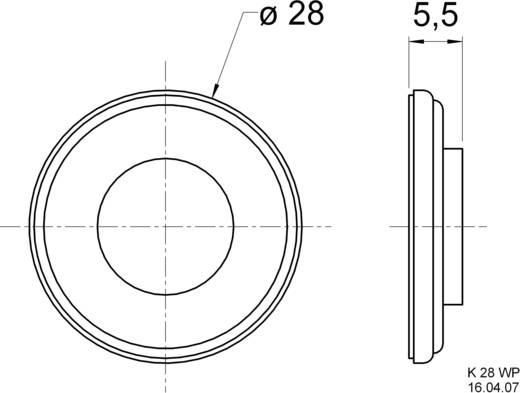 Miniatűr hangszóró 2,8 cm Visaton 2909 75 dB, 75 dB, 8 Ω, 1 W, 2,8 cm, 1 db, K 28 WP