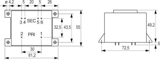 BLOCK EI 60/25,5 nyáktrafó 230V, 2x6V/2,08A/25W, VCM 25/2/6