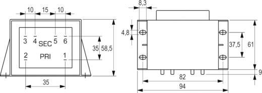 BLOCK EI 66/34,7 nyáktrafó 230V, 2x6V/4,16A/50W, VCM 50/2/6
