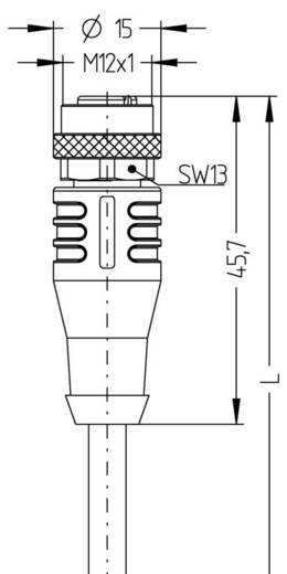 M12 Érzékelő-/működtető kábel AUTOMATION LINE, árnyékolt pólusszám: 4 AL-WAKS4-5/S370 Escha tartalom: 1 db