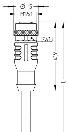 M12 Érzékelő-/működtető kábel Automation Line pólusszám: 4 AL-WAK4-2/S370 Escha tartalom: 1 db