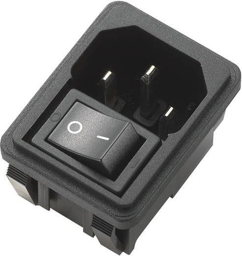 Beépíthető hálózati műszercsatlakozó dugó kapcsolóval, függőleges, 3 pól., 10 A, fekete, C14, 715155