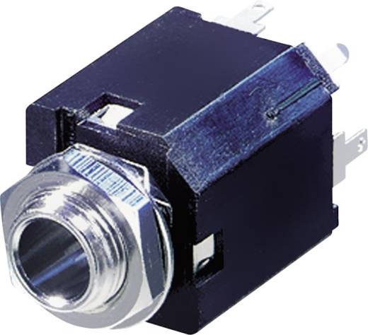 Jack csatlakozó, 6,35 mm alj, beépíthető, függőleges pólusszám: 3 Sztereo fekete Rean AV NYS232 1 db