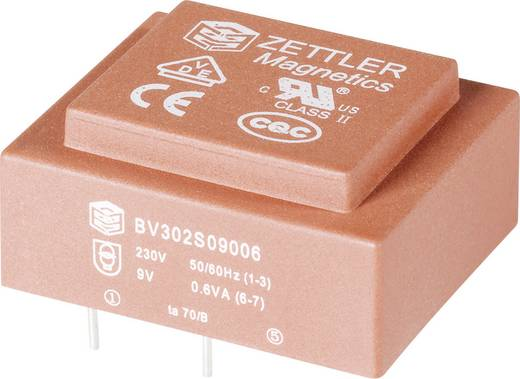 Nyák transzformátor, 230 V / 9 V 66 mA 1,8 V, ABV302S09018 Zettler Magnetics EI30