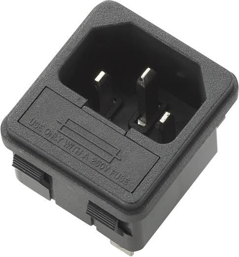 Beépíthető hálózati műszercsatlakozó dugó biztosítékkal, függőleges, 3 pól., 10 A, fekete, C14, 716529