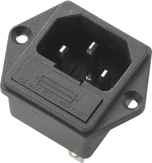 Beépíthető hálózati műszercsatlakozó dugó, függőleges, 3 pól., 10 A, fekete, C14, 717133