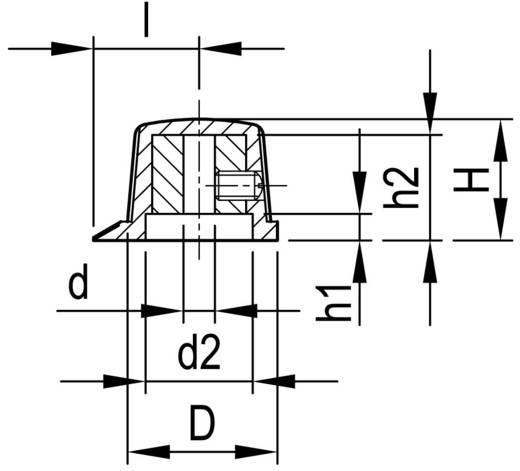 Fröcsöntött forgatógomb mutatóval, 4 mm-es tengelyre, fekete, 20 x 4 x 13,7 x 15,4 x 3,4 x 13,5 x 13,5 mm, OKW