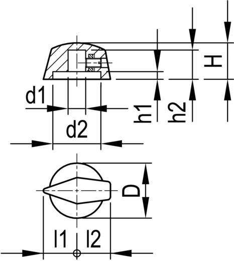 Mutatós forgatógomb Ø 6 mm, 18,8 x 6 x 16,4 x 12,5 x 2,6 x 10 x11,5 x 11,5 mm, fekete, OKW