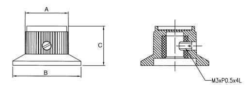 Eloxált alu univerzális forgatógomb skálával, Ø6 mm, 15,2 x 24 x 14 mm