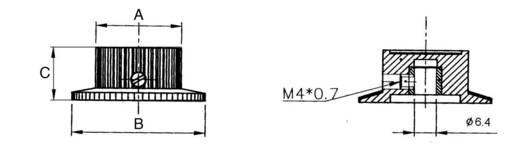 Eloxált alu univerzális forgatógomb skálával, Ø6 mm, 23,8 x 37 x 15 mm