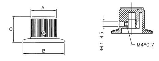 Eloxált alu univerzális forgatógomb skálával, Ø6 mm, 23 x 37 x 23,3 mm