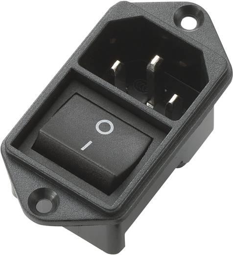 Beépíthető hálózati műszercsatlakozó dugó kapcsolóval, 3 pól., függőleges, 10 A, fekete, C14, 719253