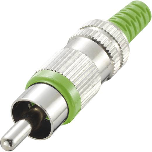 RCA csatlakozó dugó, egyenes pólusszám: 2 zöld 1 db