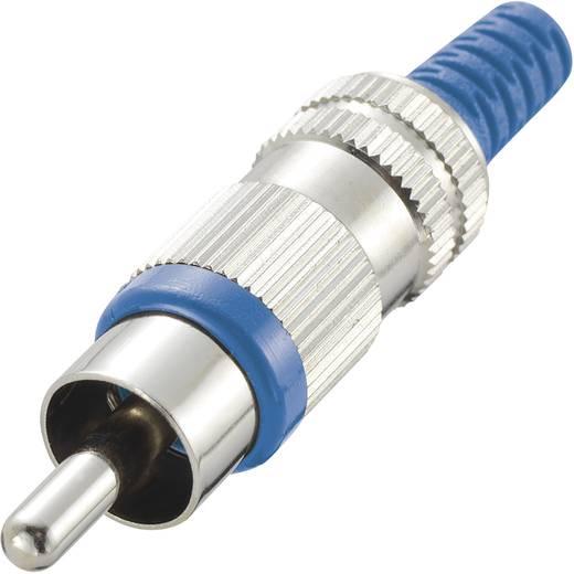 RCA csatlakozó dugó, egyenes pólusszám: 2 kék 1 db
