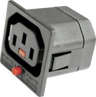 Beépíthető hálózati műszercsatlakozó aljzat kihúzásgátlóval, 3 pól., függőleges, 10 A, fekete, C13, 720210 (720210) Kash