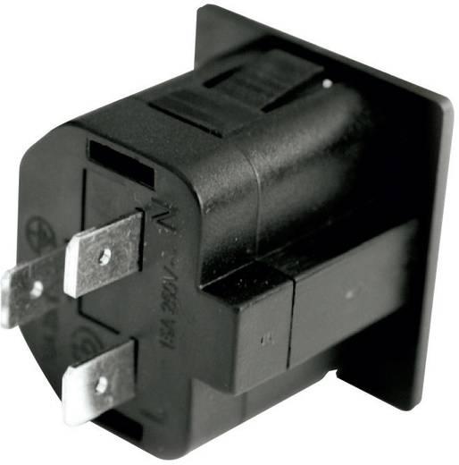 Beépíthető hálózati műszercsatlakozó aljzat kihúzásgátlóval, 3 pól., függőleges, 10 A, fekete, C13, 720210