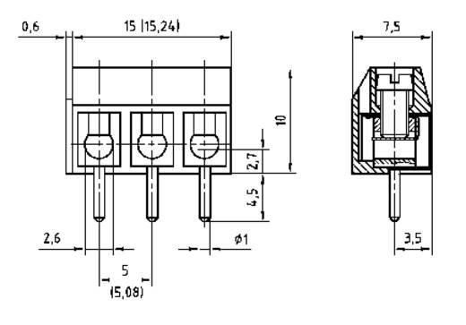 Forrasztható csavaros szorító huzalvédelemmel, AK(Z)500-V, RM 5,08 mm Pólusszám: 3 szürke 50500030134G PTR