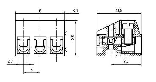 PTR csavaros sorkapocs, 2 pol., raszter 5 mm, szürke, AK130/2-5.0