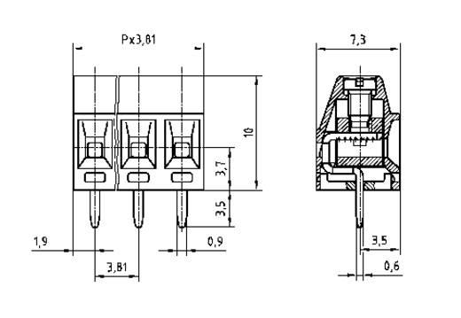 Forrasztható csavaros szorító emelő elvvel, AKZ602-V, RM 3,81 mm Pólusszám: 4 zöld 50602040021F PTR