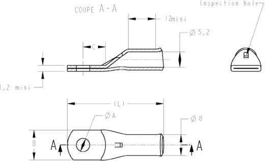 Csöves kábelsaru 180 ° M6 10 mm² lyuk Ø: 6.4 mm TE Connectivity 710031-4 1 db