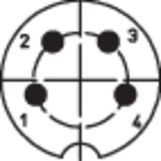 DIN kerek csatlakozóhüvely peremes hüvely, egyenes érintkezők pólusszám: 4 ezüst BKL Electronic 0202016 1 db