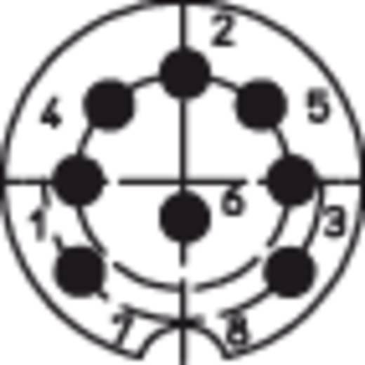 DIN kerek csatlakozóhüvely alj, egyenes pólusszám: 8 ezüst Lumberg 0321 08 1 db