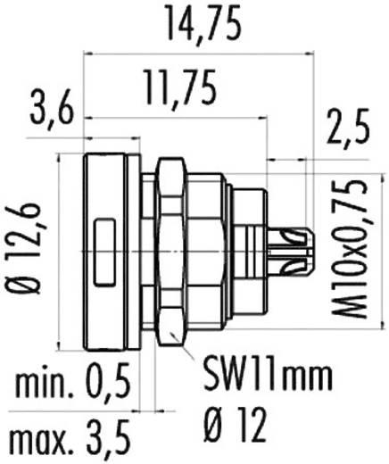 Szubminiatűr kerek dugaszolható csatlakozó, 420-as sorozat Pólusszám: 4 Peremes dugó 1 A 09-400-04 Binder 1 db