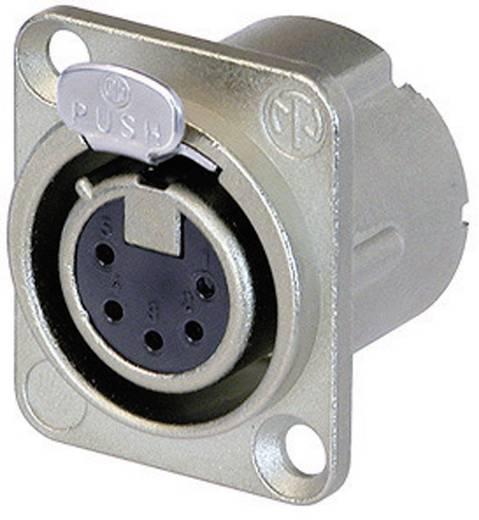 XLR csatlakozó peremes hüvely, egyenes érintkezők pólusszám: 5 ezüst Neutrik NC5FD-LX 1 db