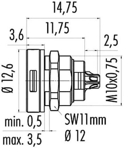 Szubminiatűr kerek dugaszoló csatlakozó 420-as sorozat Pólusszám: 3 Peremes csatlakozó aljzat 1 A 09-4708-00-03 Binder