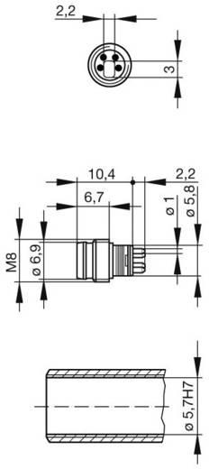 Készülékcsatlakozó M8-as érzékelőkhöz fémes ezüst ELST 4408 RV KM Hirschmann