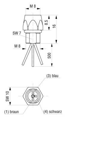 Készülékaljzat M8-as érzékelőkhöz előlapi szerelésű fekete CO ELKE 3308 V FM 8 05 Hirschmann