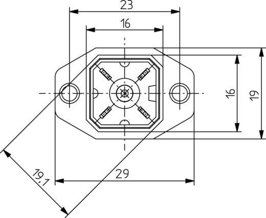 Beépíthető peremes csatlakozóaljzat forrasztható kivezetéssel 4pólusú fekete G 4 A 5 M Hirschmann