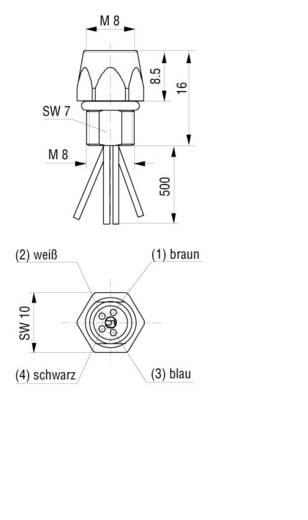 Készülékaljzat M8-as érzékelőkhöz előlapi szerelésű fekete CO ELKE 4408 V FM 8 05 Hirschmann