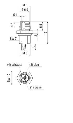Készülékaljzat M8-as érzékelőkhöz előlapi szerelésű fekete CO ELST 3308 RV FM 805 Hirschmann