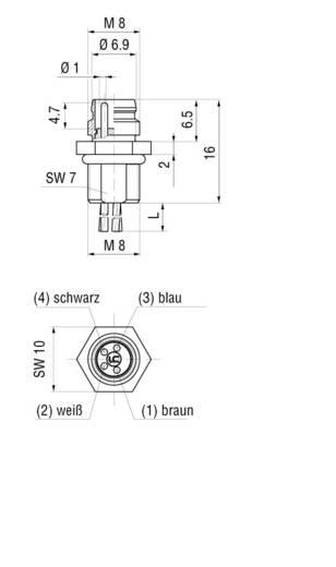 Készülékaljzat M8-as érzékelőkhöz előlapi szerelésű fekete ELST 4408 RV FM 805 Hirschmann