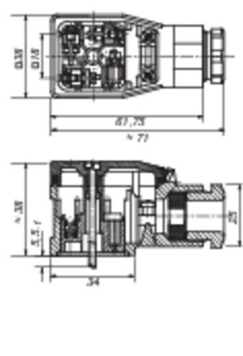 Vezetékre szerelhető csatlakozóaljzat 3+ PE pólusú fekete GDME 3020 Hirschmann