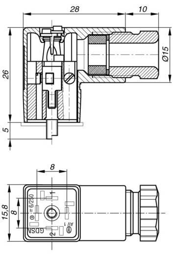 Szerelhető csatlakozódugó, könyök dugó 2+PE pólusú fekete GDSN 207 Hirschmann